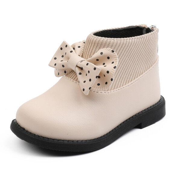 Giá bán 2020 Giảm Giá Thời Trang Bé Gái Boots Trẻ Mới Biết Đi Trẻ Sơ Sinh Trẻ Em Thắt Nơ Giày Bốt Cổ Thấp Ngắn Ấm Áp