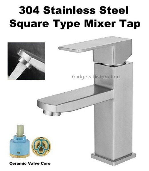 Matte Finish 304 Stainless Steel Hotel Elegant High Quality Basin Square Type Mixer Faucet Water Tap 2540.1