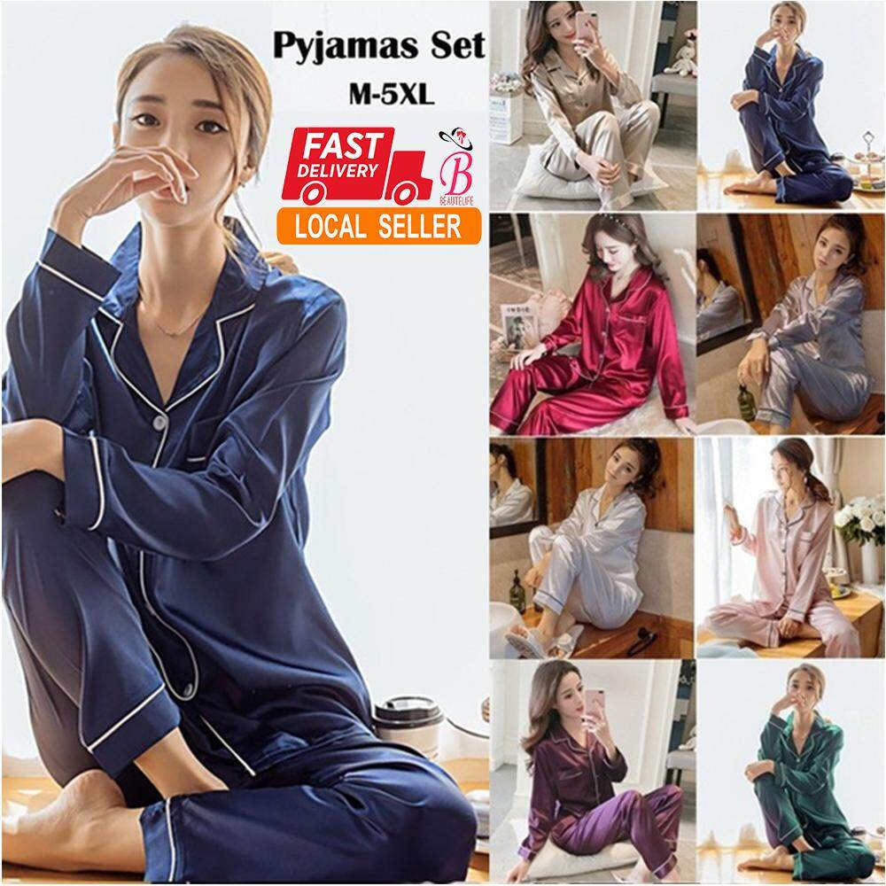 2820f84c02a Women Silk Satin Pajamas Set Sleepwear Loungewear Plus Size M~5XL