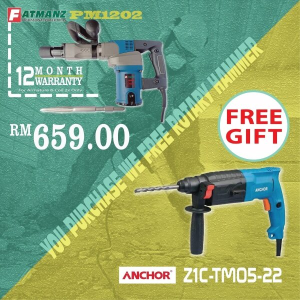 [ FREE rotary hammer ] Fatmanz PM1202 demolition hammer FREE Anchor R6 Rotary Hammer 2in1 fuction