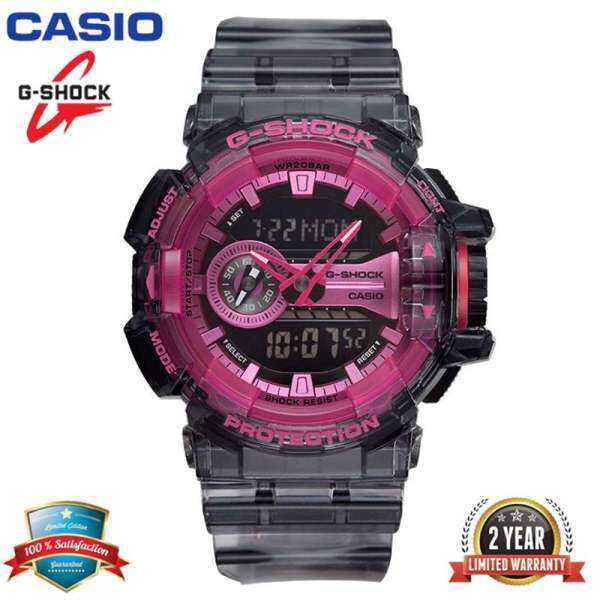 Original G Shock GA400 Men Sport Watch Dual Time Display 200M Water Resistant Shockproof and Waterproof World Time LED Auto Light Sports Wrist Watches with 2 Year Warranty GA-400SK-1A4 Transparent Gray Pink (Ready Stock Malaysia