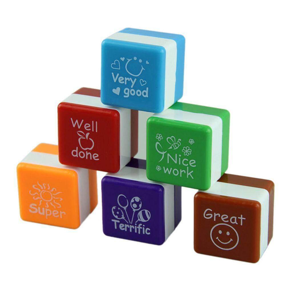 6pcs English Teachers Encourage Stamp Seal Water Self-Inking Kid Cartoon Encouragement Toys