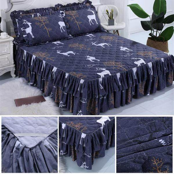 Simple animal print series skin-friendly comfort double skirt thick quilted sanded aloe cotton bed three-piece
