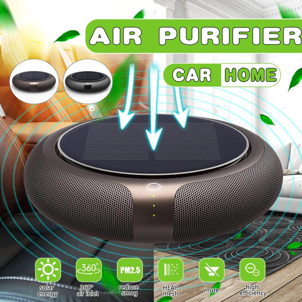 Portable Solar Vehicle Formaldehyde Air Smog Purifier Anion Diffuser Car Home
