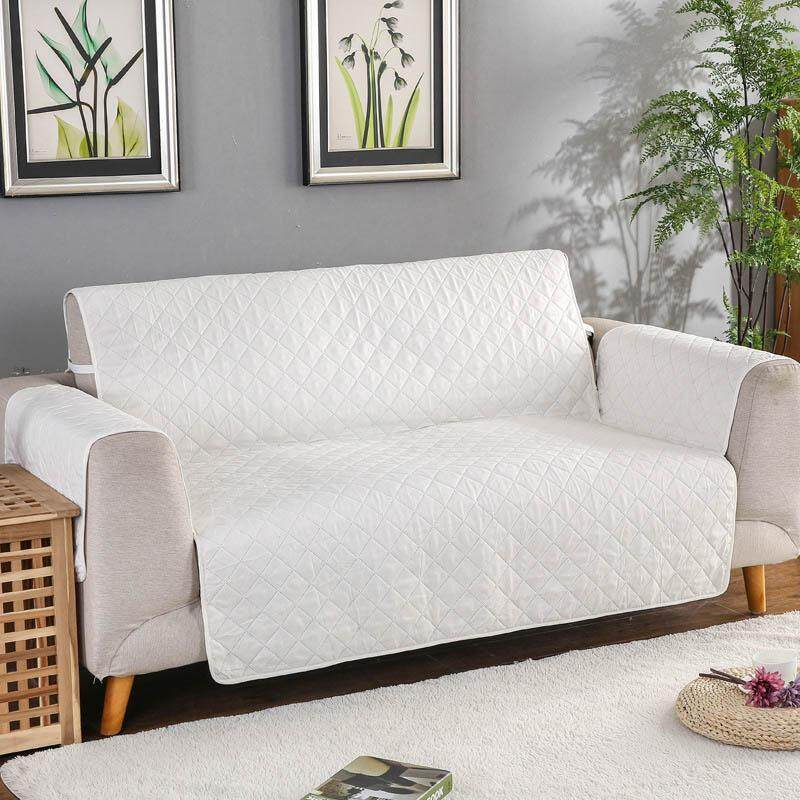 Sofa Cover for Living Room Chair Pet Dog Kid Mat Furniture Protector Washable Armrest Slipcover White Couch Cover for 3 Seat 190x196cm