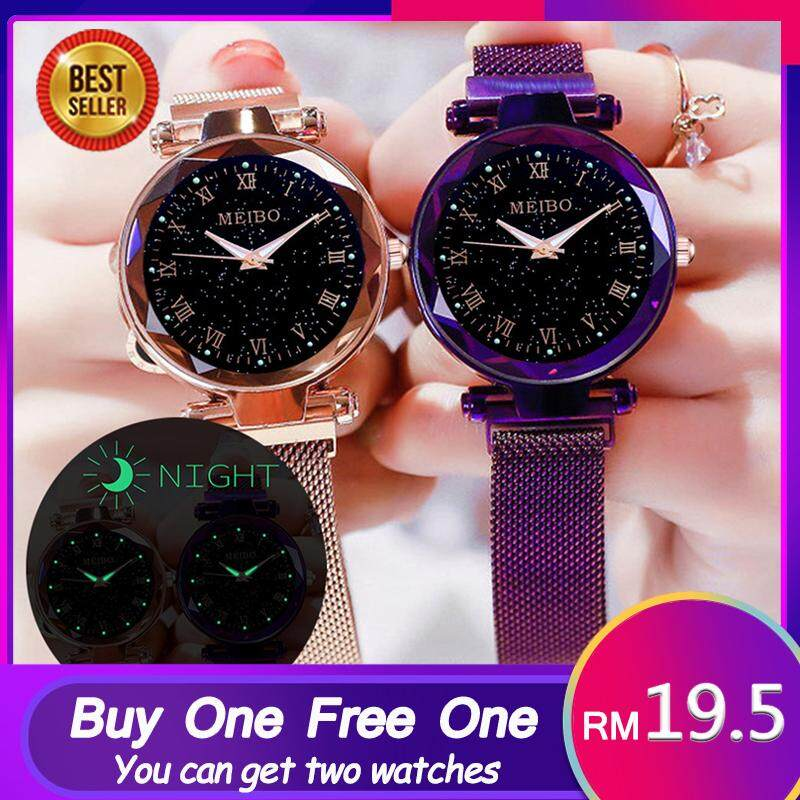 (Buy One Free One)Fashion Women Watch Casual Star Sky Watch Magnetic Buckle Luxurious Elegance Stainless Steel Waterproof Ladies Wrist Watches Malaysia