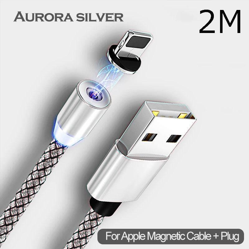 2 Meter Magnetic Kabel Lightning LED Tahan Lama Nilon Dikepang Kabel USB Pengisi Daya untuk iPhone X XS Max XR 6 S 5 S 6 7 8 PLUS 5 5 S SE 5C 4 4 S