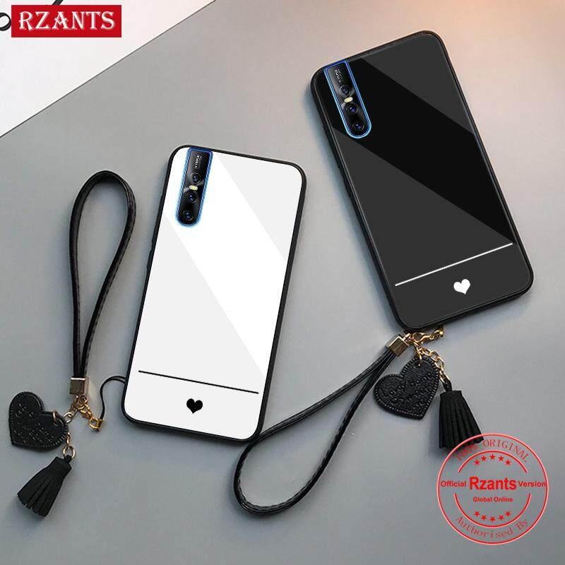 Rzants untuk VIVO V15 Pro Case【simple Love】couple Halus Kaca Antigores Ultra-Tipis Shockproof Hard Kembali Sarung Telepon Genggam
