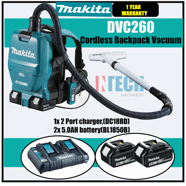 MAKITA DVC260 BACKPACK VACUUM CLEANER C/W 1x 2PORT MULTI FAST CHARGER(DC18RD) + 2x 5.0AH BATTERY(BL1850B)