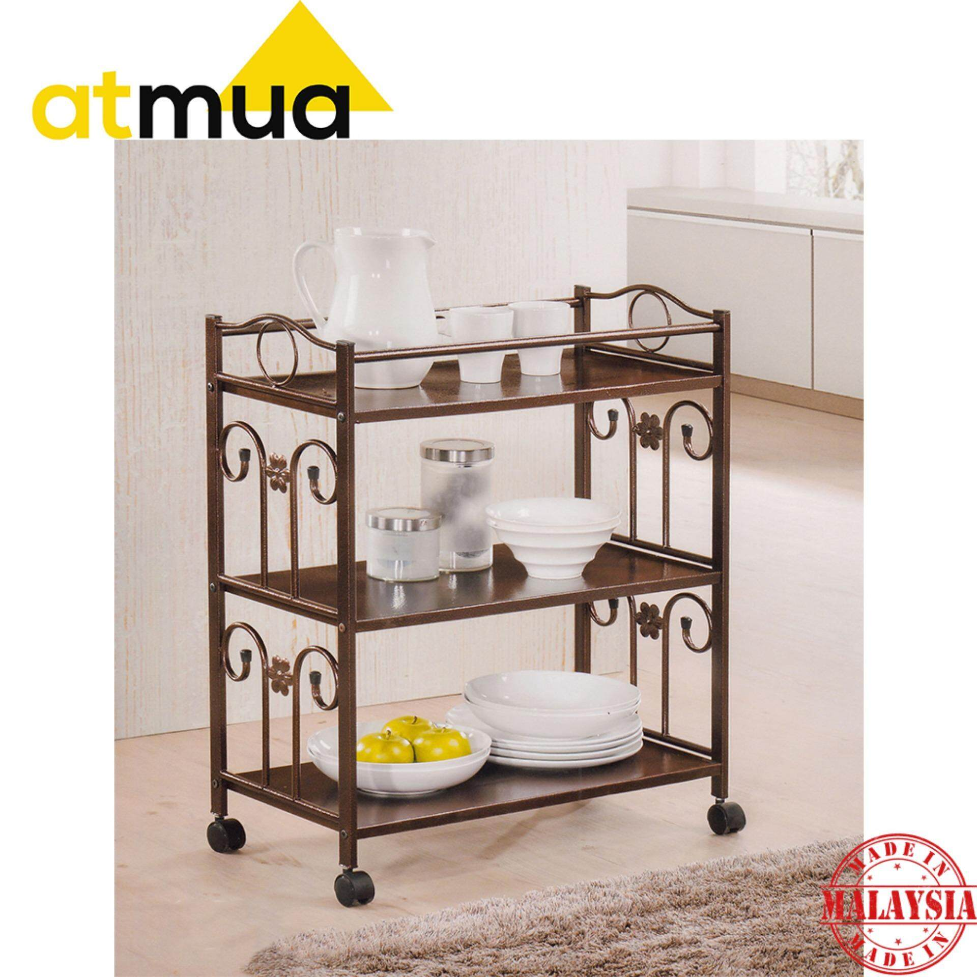 Atmua Rough Iron Trolley - 3 Tier with Lockable Roller [Rough Iron]
