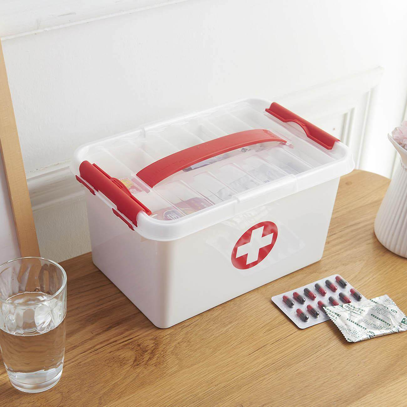 Homenhome Portable Double Layers Medicine Cabinet Household First Aid Kit Medical Box