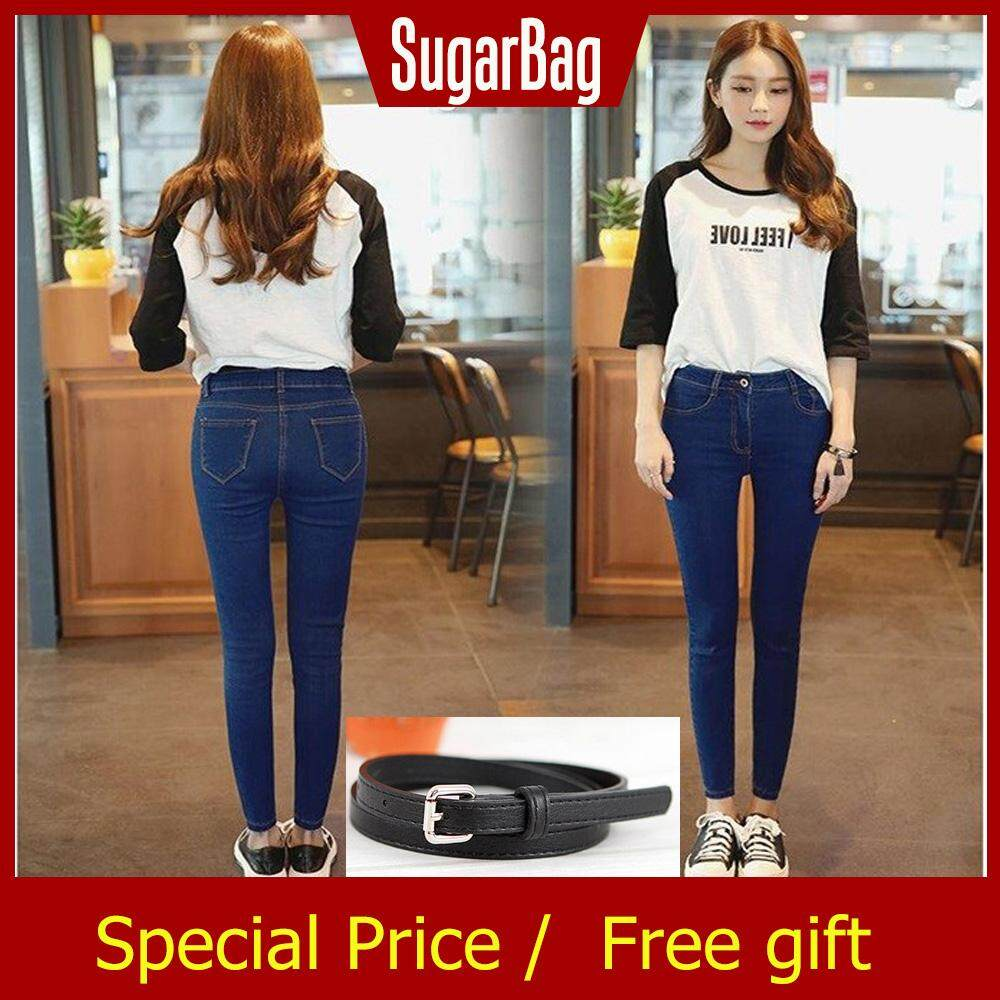 2381ff33e [Free Gift]Fashionable Women High Waist Jeans Stretch Trousers Skinny  Pencil Pants
