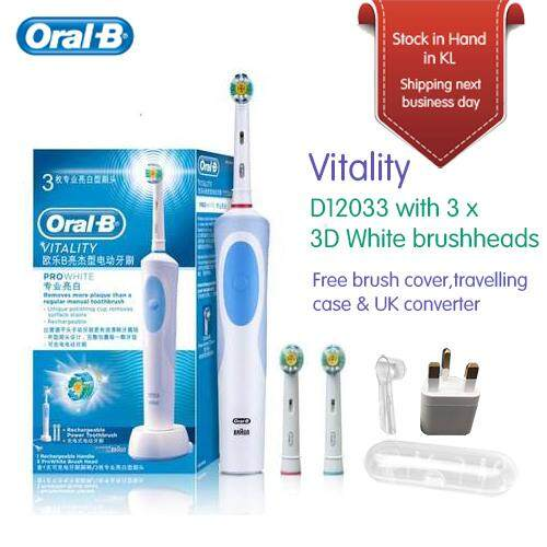 ORAL-B D12 033 Vitality with 3 3D white brush heads Rechargeable Electric  Toothbrush