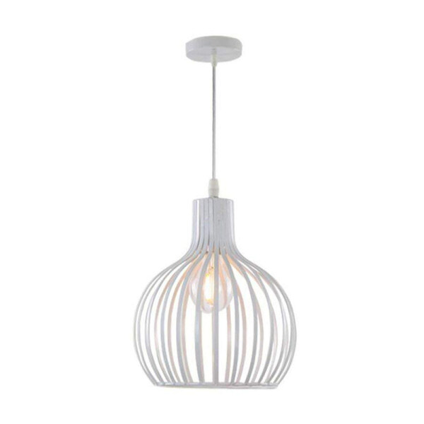 Round LED Chandeliers, Nordic Creative Iron Black/White Birdcage Ceiling Lamp Modern Living Room Cafe Dining Room Pendant Light Vintage Fashion Clothing Store Bedroom Aisle Ceiling Light