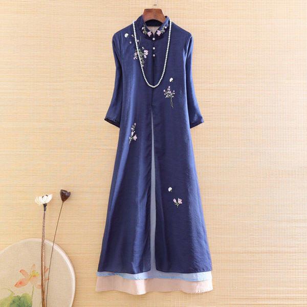Sườn Xám Cải Tiến Phong Cách Trung Quốc Mới Phong Cách Dân Tộc Cổ Điển Váy Vải Cotton Lụa Giả Thêu Hoa Mới 2020