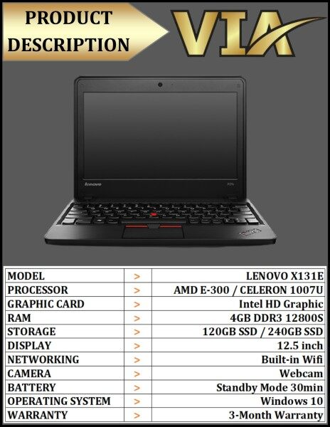 (120GB SSD / 240GB SSD)HDMI~Student/Office Chromebook LENOVO X131E~CELERON 1007U~4GB RAM~320GB HDD~WIN 10~HDMI~USB 3.0 Malaysia