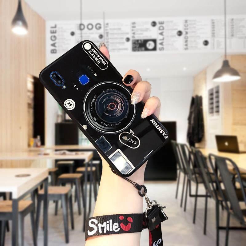 Hontinga untuk Vivo Y91/Y91i/Y95 Casing, 3D Kotak Lensa Kamera Tali Gantungan Tali Berpengait Pemegang Halus Kaca Antigores Belakang Pelindung Ponsel Casing Kover (Lensa Pop Pemegang + Acak Tali)