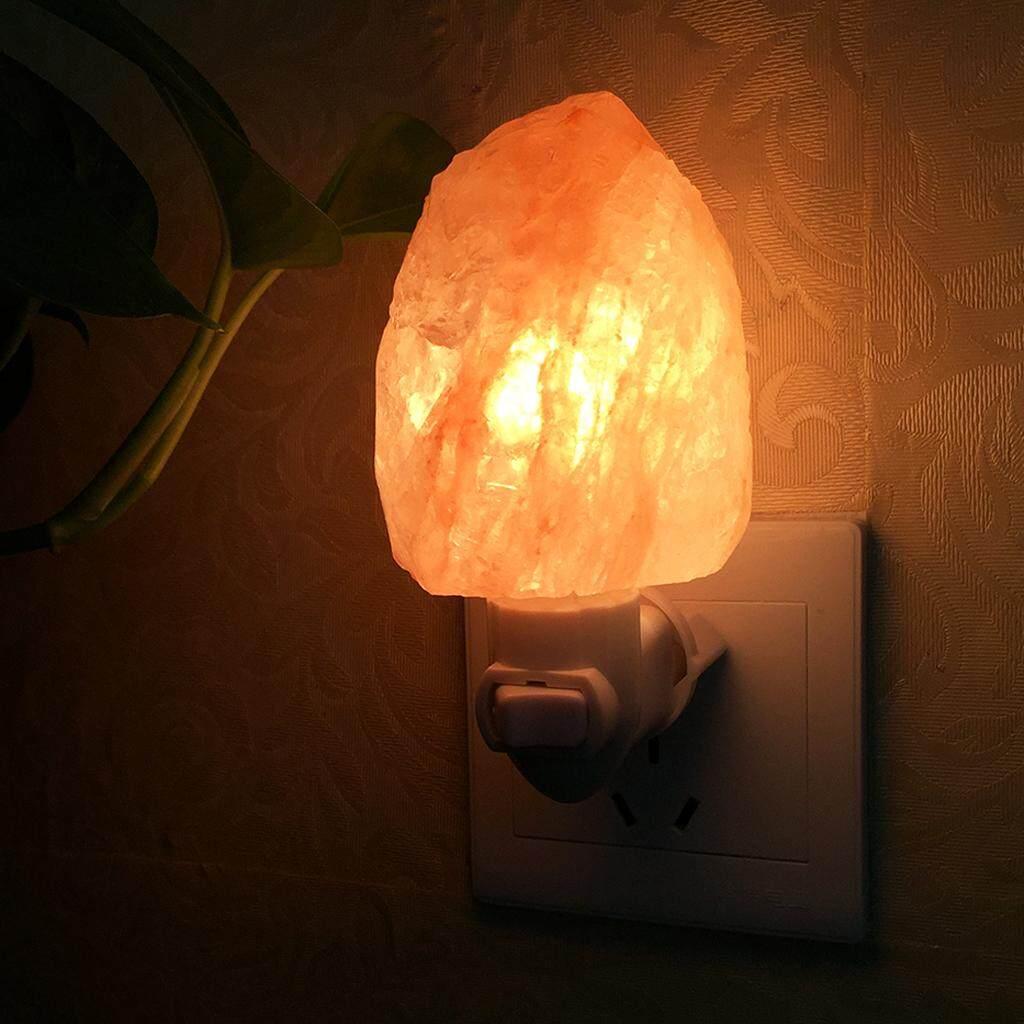 Perfk Himalayan Salt Lamp Natural Crystal Rock Shape Wall Night Light -EU Plug