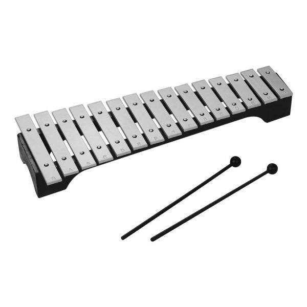 SENT 15-Note Xylophone Glockenspiel Wooden Base Aluminum Bars with Mallets Percussion Musical Instrument Gift with Carrying Bag
