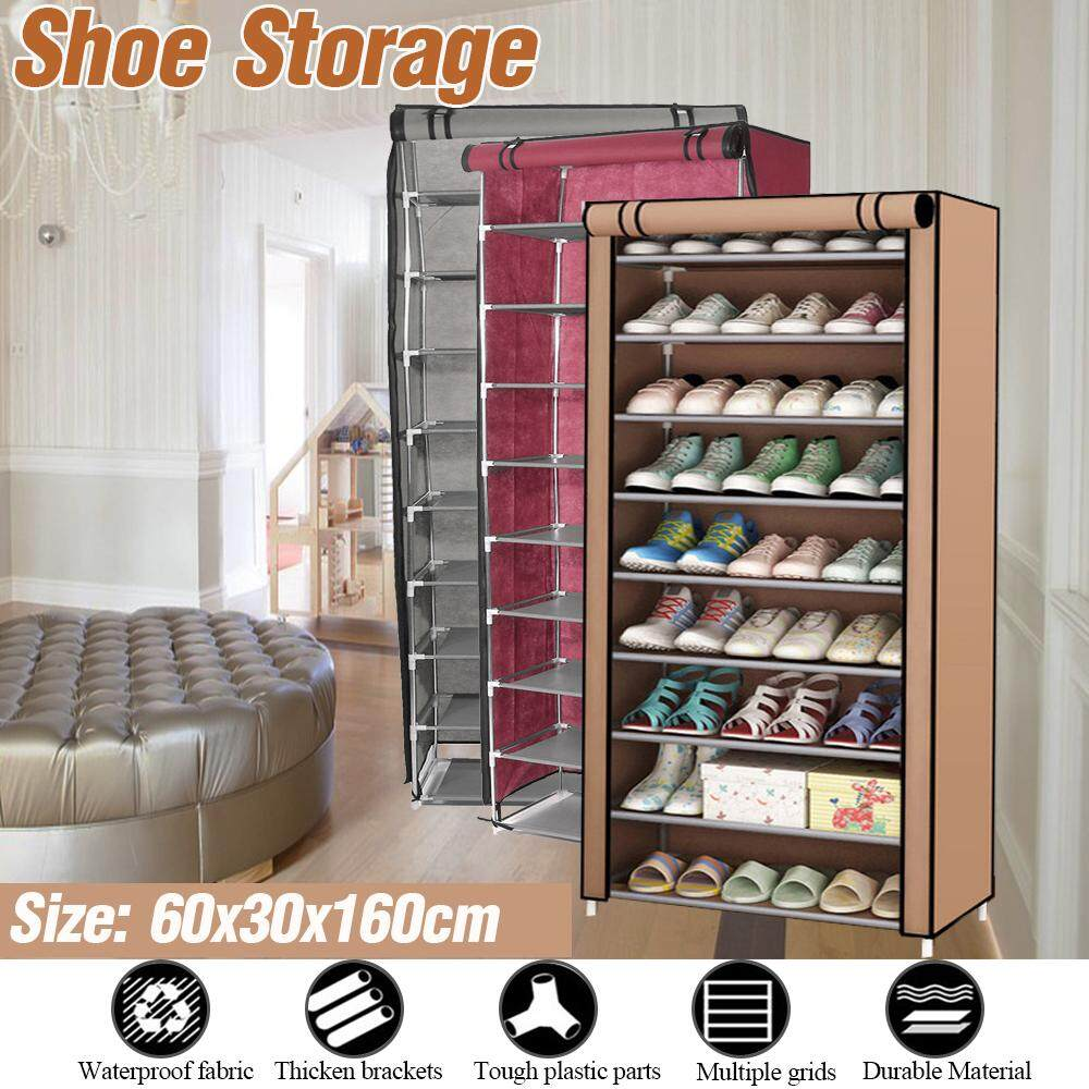 10 Layers Dustproof Shoe Boot Rack Shelf Storage Closet Organizer Cabinet