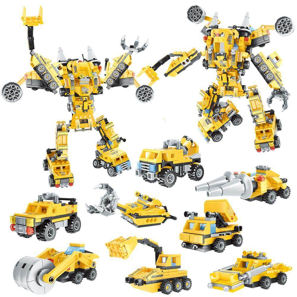 LF 8-In-1 Engineering Car Fight Insert 52 Variable Building Blocks Construction Vehicle Children's Educational Assembled DIY Toy