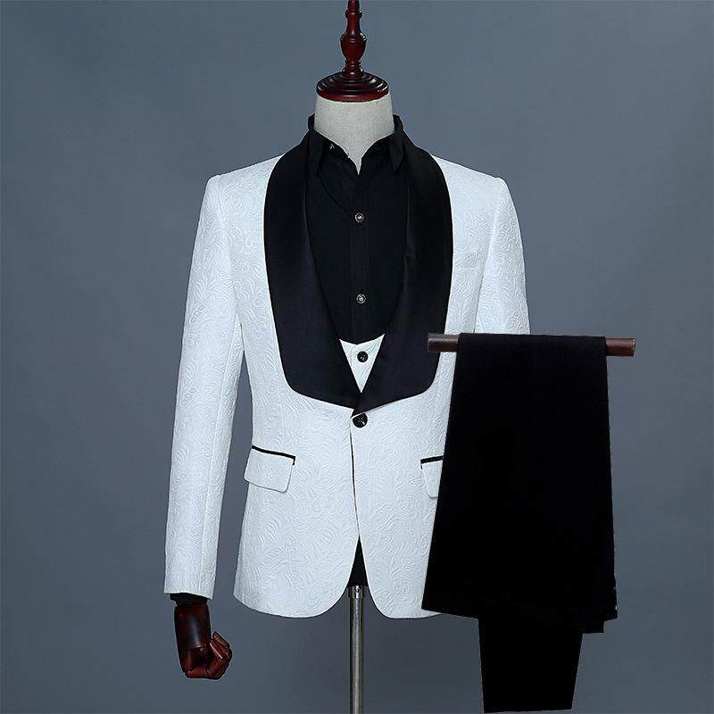 Shawl Collar One Button Fashionable Top Quality New Groom Tuxedos Wedding Jacquard Bridegroom Suits ( Jacket+pant+vest) By Yangs House.