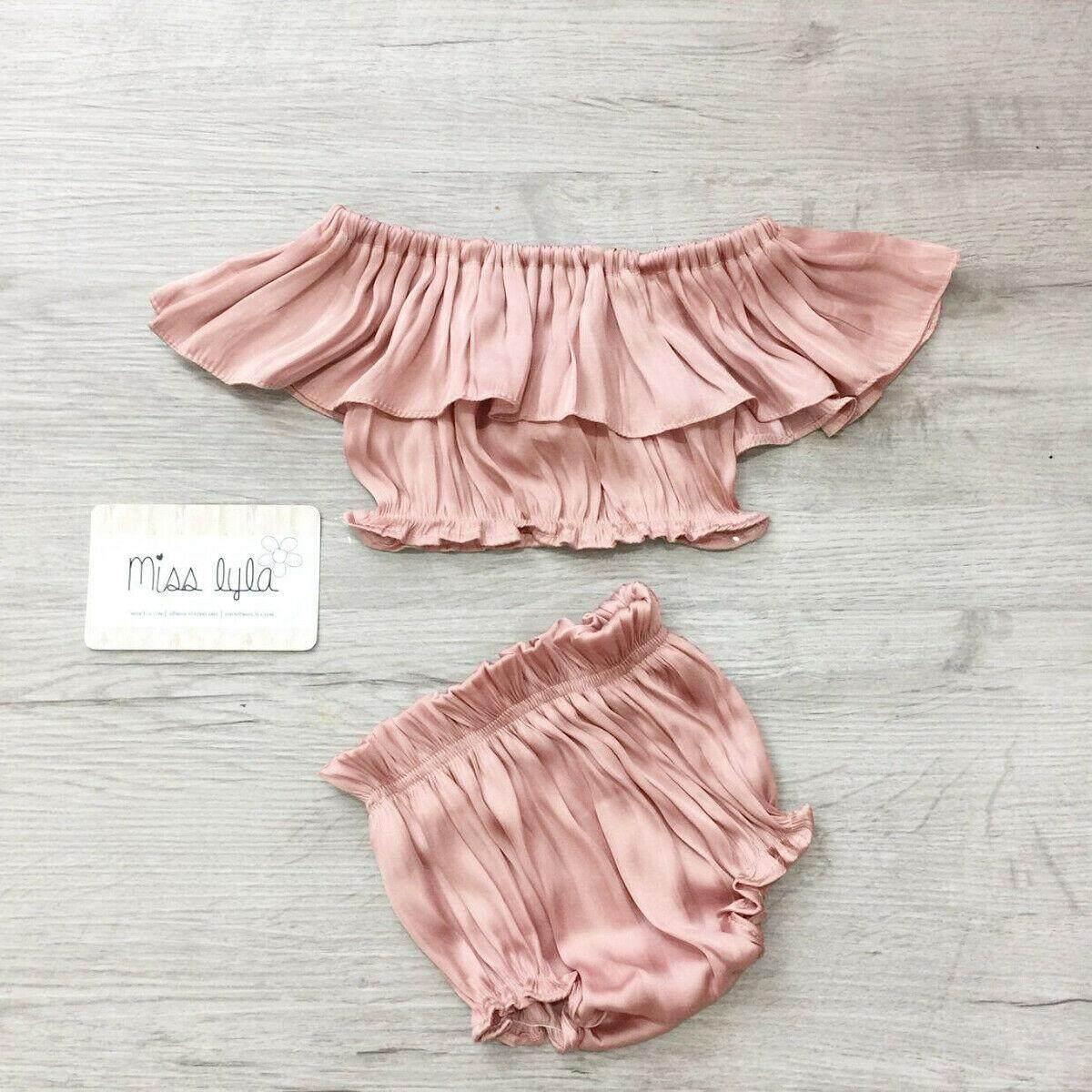Toddler Infant Baby Girls Summer Blouse Off Shoulder Ruffled Sleeve Crop Tops T-Shirt 0-3Y