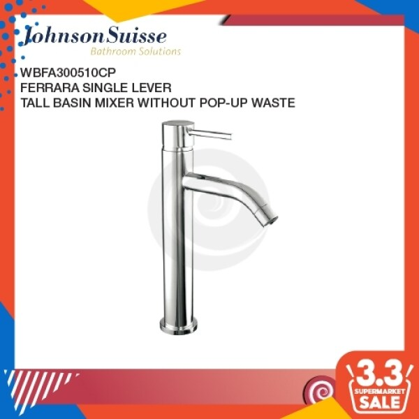 *Stock Clearance*Johnson Suisse Ferrara Single Lever Tall Basin Mixer (While Stocks Last) | Bathroom Mixer Tap | Wash Tap