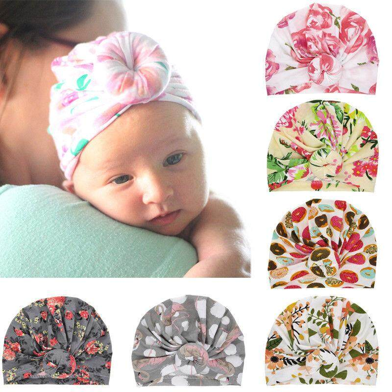 5479e08c42c Newborn Baby Girl Soft Cute Indian Turban Knot Rabbit Hospital Cap Beanie  Hat
