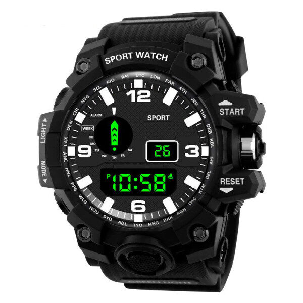 NEW Mens Sports Watch 50m Waterproof Double Time Digital Watch For Men chronograph fashion Countdown LED Electronic Watch Malaysia