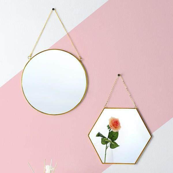 Gương treo tường Oneisall khung kim loại làm bằng đồng không gỉ kích cỡ 24/30/40cm để treo phòng tắm bàn trang điểm - INTL giá rẻ