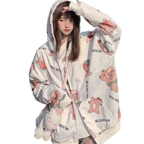 ®Áo Hoodie Nữ Có Túi Tay Dài In Hình Gấu Hoạt Hình Mùa Thu Thời Trang, Coat Oversized