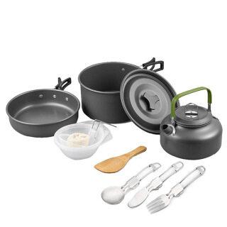 Cắm Trại Đồ Nấu Nướng Kit Cắm Trại Đồ Nấu Nướng Bộ, Nồi Nấu Ăn Ngoài Trời Ấm Đun Nước Cho Bếp Ga Phụ Kiện Cắm Trại Nhẹ Ba Lô Đi Bộ Đường Dài Cho 2 Đến 3 Người thumbnail