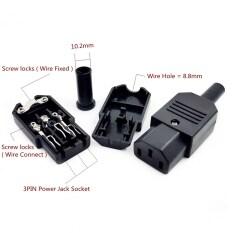 IEC C13 Nữ Cắm Power Adapter Rewirable Nối Đen AC 250V 10A