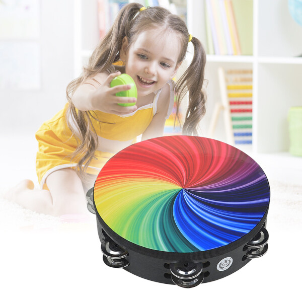 8 In-ch Rainbow Tambourine Wooden Handbell Early Education Percussion Instrument with Double Row Jingles for Children Boys Girls Malaysia