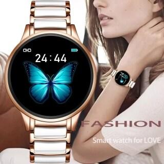 LIGE 2021 sang trọng Đồng Hồ Nữ thông minh Nhịp tim Huyết áp Đồng hồ thể thao đồng hồ nam chống nước Máy theo dõi thể dục Dây đeo bằng gốm cho Android ios + Hộp thumbnail