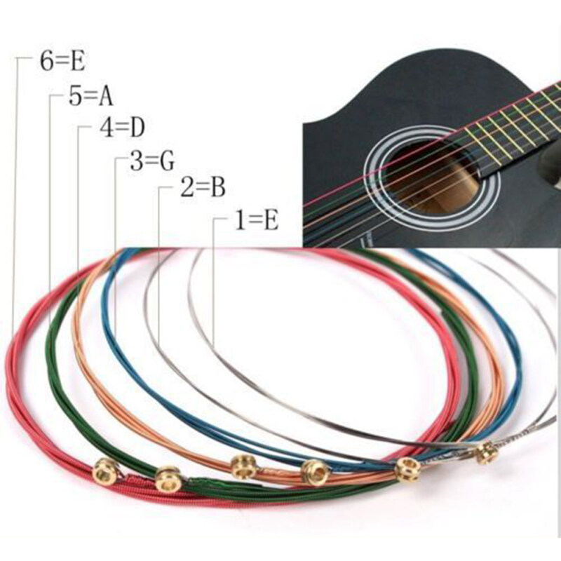 Maraa Mini NEW One Set 6pcs Rainbow Colorful Color Strings For Acoustic Guitar  Accessory Malaysia