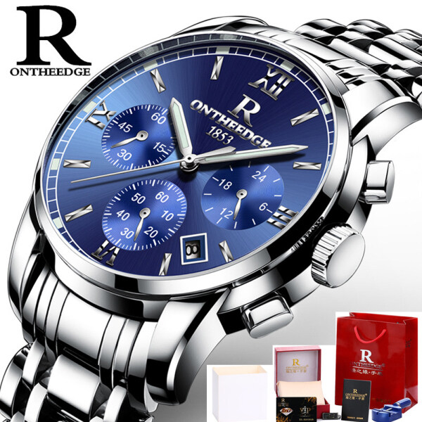 Watches Top Brand Luxury Business Quartz Watch Men All Steel Blue Face Waterproof Chronograph Relogio Masculino Malaysia
