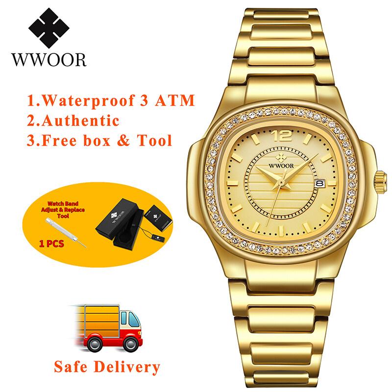 Đồng Hồ Đeo Tay WWOOR Cho Nữ Đồng Hồ Đeo Tay 3 ATM Có Lịch Chống Nước Mặt Vuông Hàng Hiệu Thời Trang Đích Thực Dùng Hàng Ngày