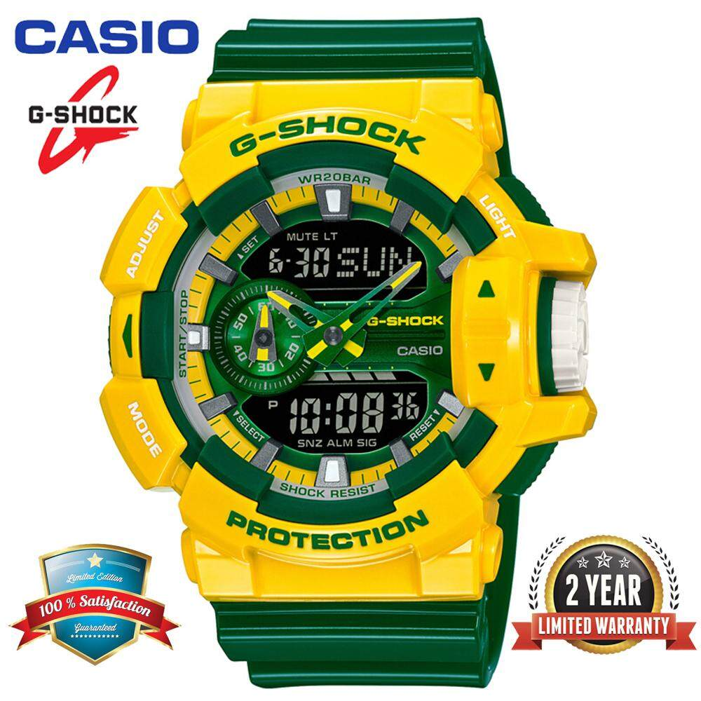 (Ready Stock) Original Casio G Shock_GA-400CS-9A Men Sport Watch Duo W/Time 200M Water Resistant Shockproof and Waterproof World Time LED Auto Light Wist Sports Watches with 2 Year Warranty GA400/GA-400 Yellow Green Malaysia