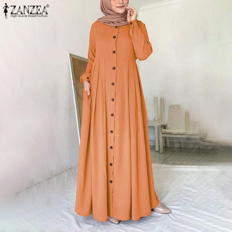 Momonaco Zanzea Muslimahผู้หญิงมุสลิมabayaดูไบปุ่มเสื้อคลุมแขนยาวเสื้อแม๊กซี่เชิ้ต.
