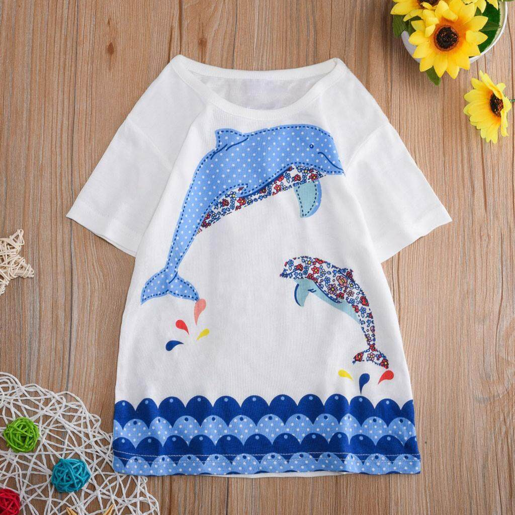 Aynshop Toddler Kids Baby Boys Girls Clothes Short Sleeve Cartoon Tops T-Shirt Blouse By Aynshop.