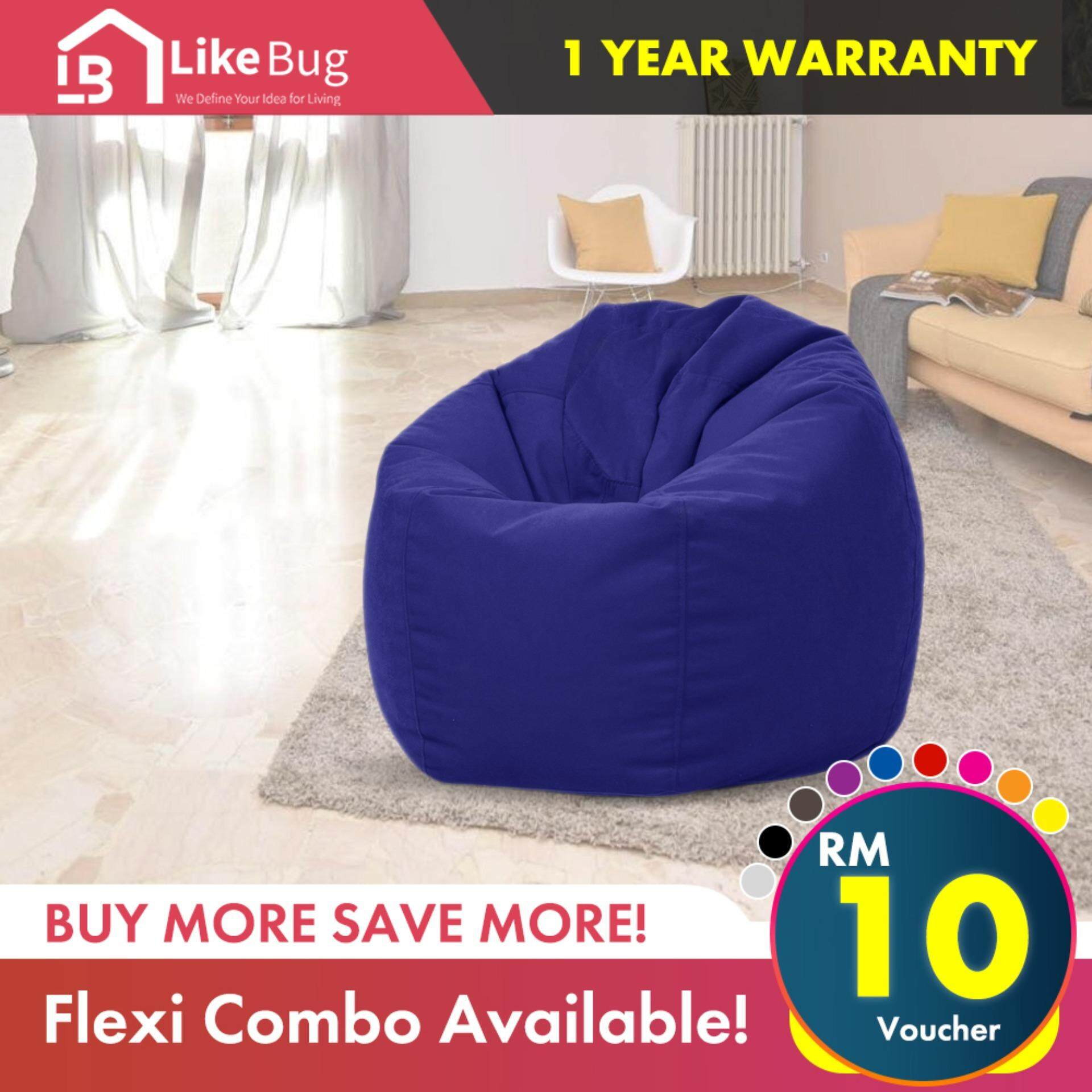 Like Bug Comfy Velvet Fabric Large Bean Bag Sofa With 2 5kg Bean Filling Xl Size Ready Stock