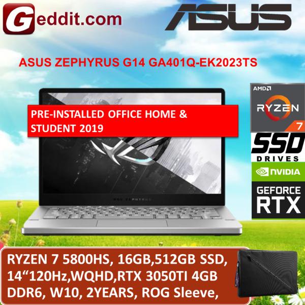 ASUS ZEPHYRUS G14 GA401Q-EK2023TS GAMING LAPTOP (RYZEN 7 5800HS,16GB,512GB SSD,14 WQHD,RTX3050TI 4GB,WIN10) FREE ROG SLEEVE + PRE-INSTALLED OFFICE H&S 2019 Malaysia