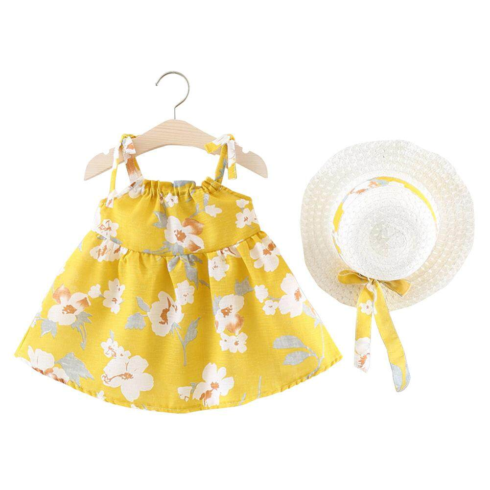 Giá bán HuaX Baby Girls Summer Bow Straw Hat + Strap Princess Dress Set Children Clothing