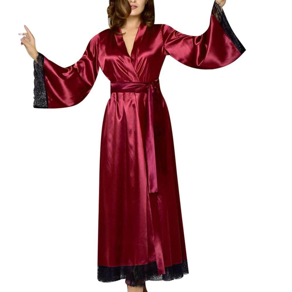 8d0c0e2f5f 2019 Hot Sale!Women Sexy Long Silk Kimono Dressing Gown Bath Robe Babydoll  Seamless lace