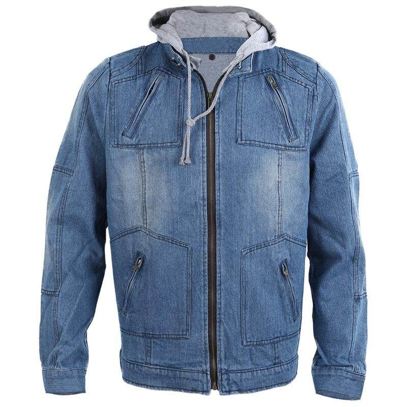 fab209b0456 Autumn Winter Men Clothing Hooded Denim Jacket Outdoors Casual Jeans Coats  Outerwear-Blue-L