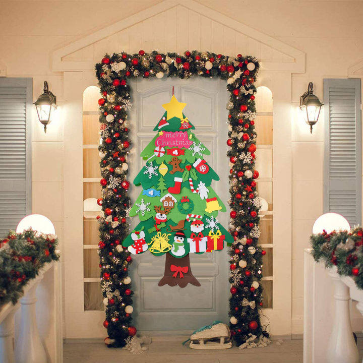 120cm Tree with 34Pcs Detachable Ornaments Kids Xmas Gifts for New Year Handmade Christmas Home Decorations DIY Felt Christmas Tree Set