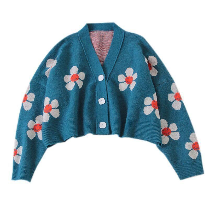 Phong Cách Đại Học Phụ Nữ Dệt Kim Dài Tay Áo Len Ngắn Cardigan Dễ Thương Mỉm Cười In Hoa V-cổ Nút Áo Khoác Rộng