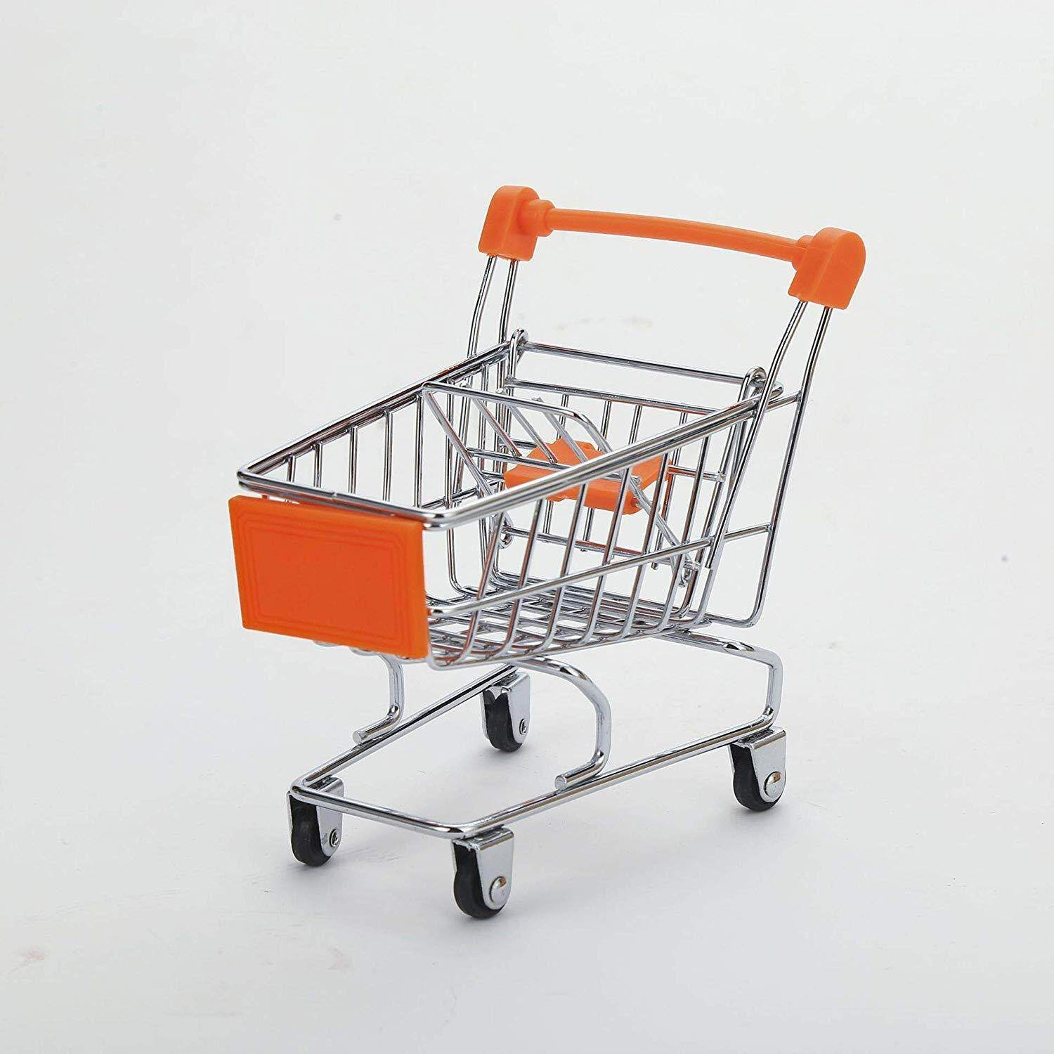 Fly Array Kids Mini Shopping Cart Roll Wheel Moving Doll Toys Holder Cool Desk Holder Tiny Cute Supermarket Cart Trolly Sturdy Metal Novelty Adorable Gifts for Children (Orange, XS(4.5×3.4×4.7 inch))